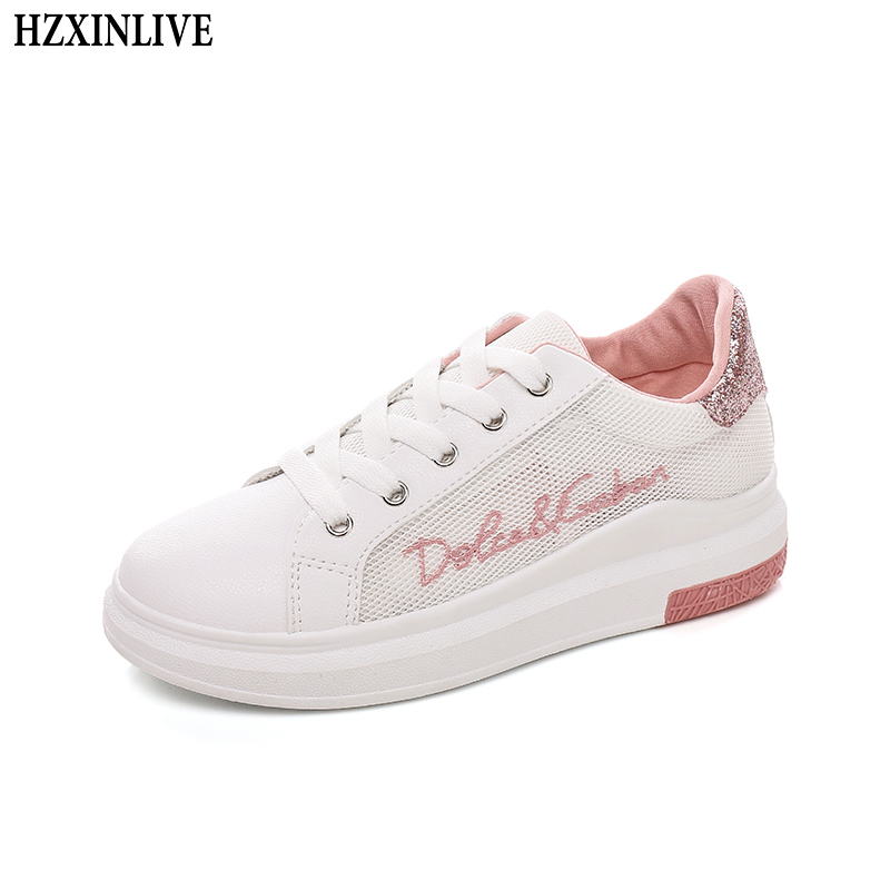 HZXINLIVE 2018 Flats Shoes Women Breathable Hollow Sneakers Ladies Casual Mesh Flats Lace-up Summer Walking Shoes tenis feminino mwy women breathable casual shoes new women s soft soles flat shoes fashion air mesh summer shoes female tenis feminino sneakers