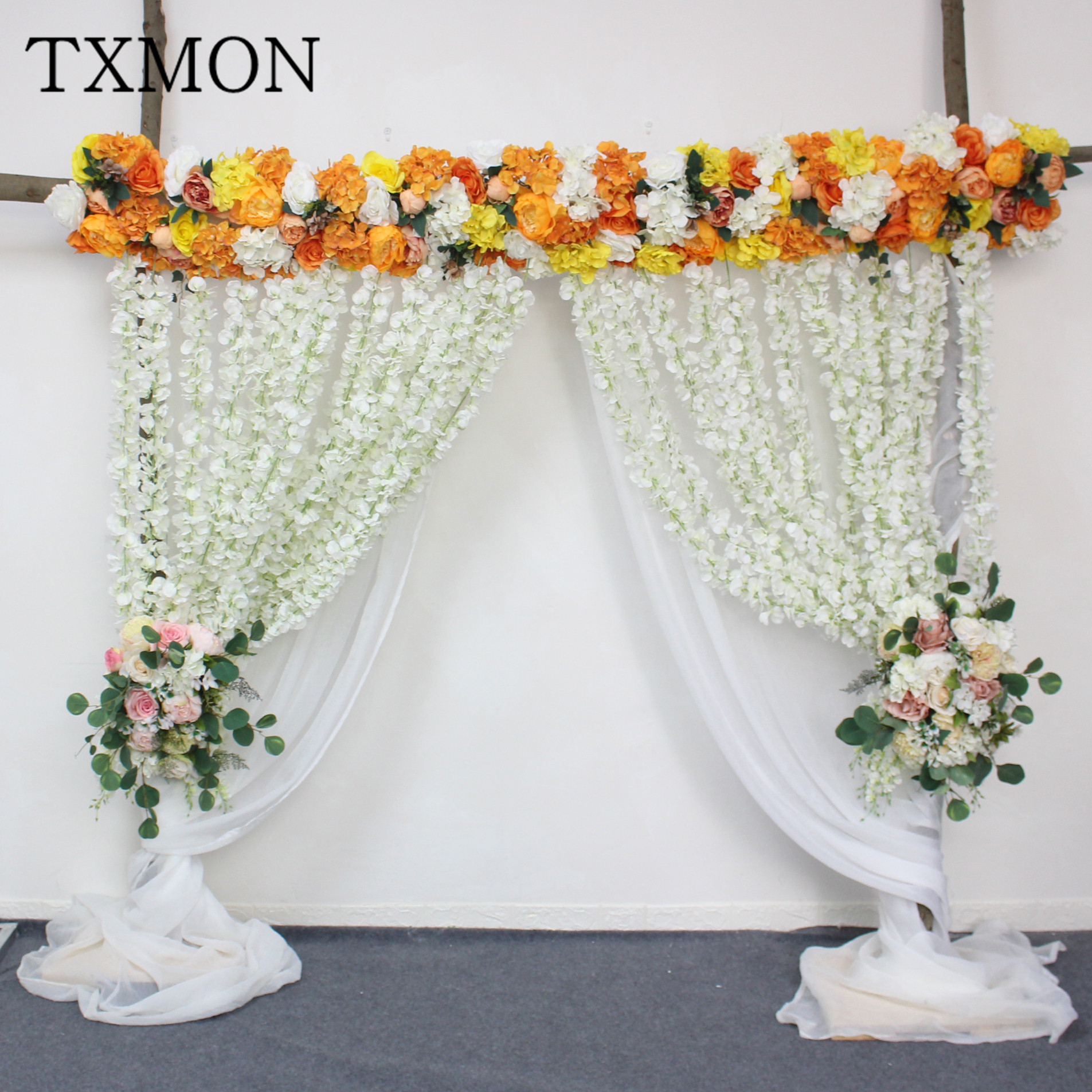 High-end custom 2m flower arrangement wedding props row flower simulation road lead flowers wall arch stage decoration placedHigh-end custom 2m flower arrangement wedding props row flower simulation road lead flowers wall arch stage decoration placed