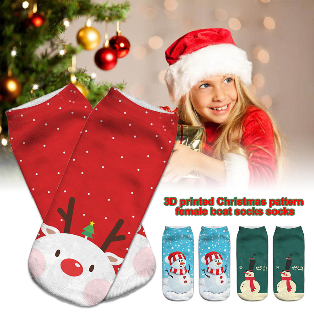 1 Pair Women Socks Christmas Style Pattern Printing Breathable Elasticity For Autumn Winter -MX8