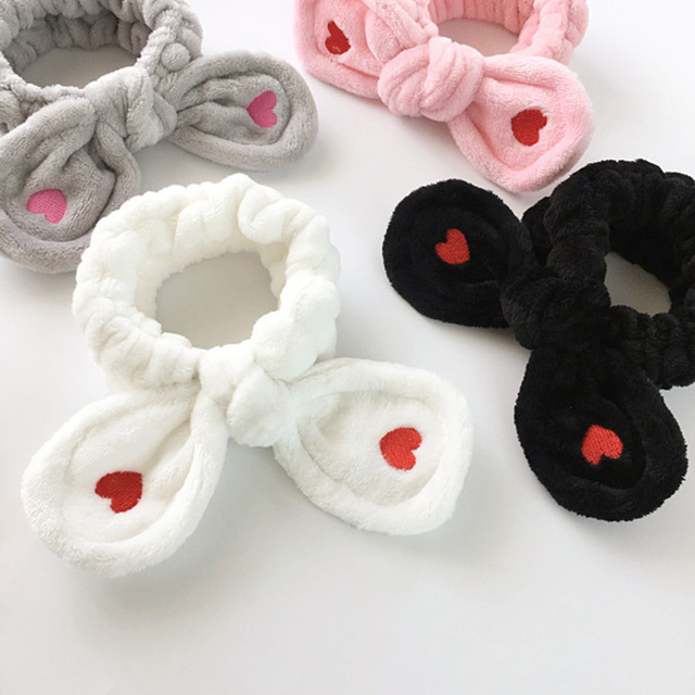Big Rabbit Ear Soft Elastic Soft Headband Women Towel Hair Band Bath Spa Make Up Girls Face Washing Hairband Headwear