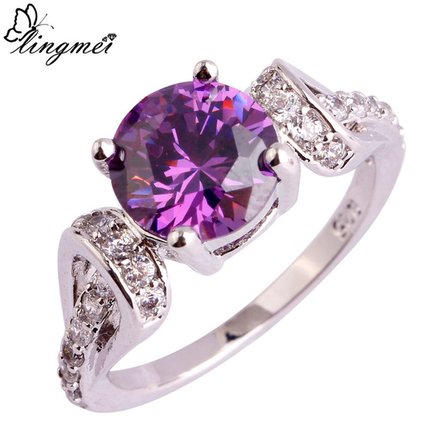 lingmei Wholesale Round Cut Purple White CZ Silver Color Ring Size 6 7 8 9 10 11