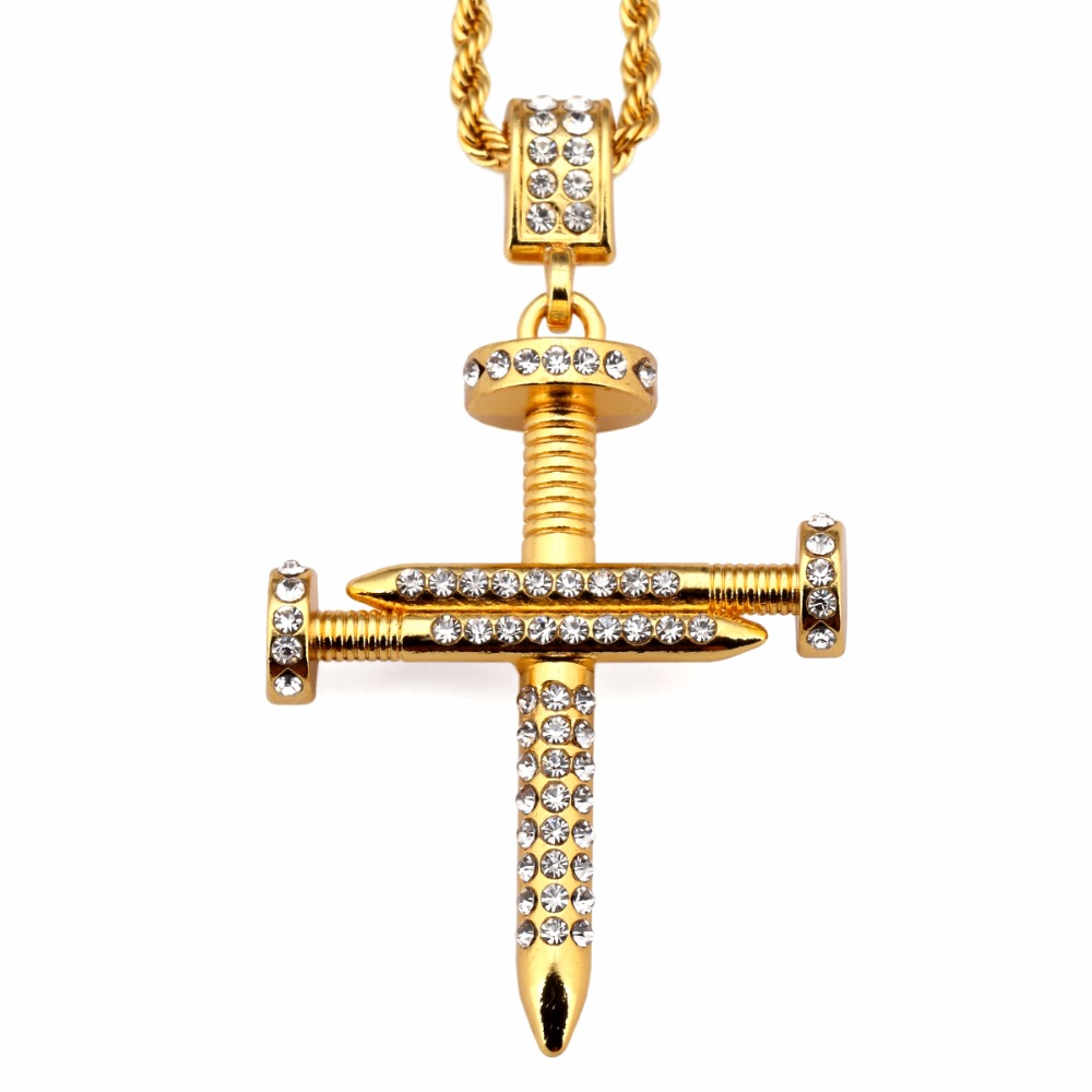 Top quality lindy splicing nail cross pendants necklaces for Bling jewelry coupon code