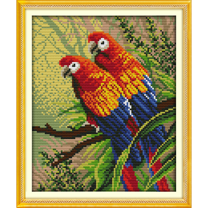 Everlasting love Christmas Two parrots Chinese cross stitch kits Ecological cotton stamped 11CT 14CT New store sales promotion