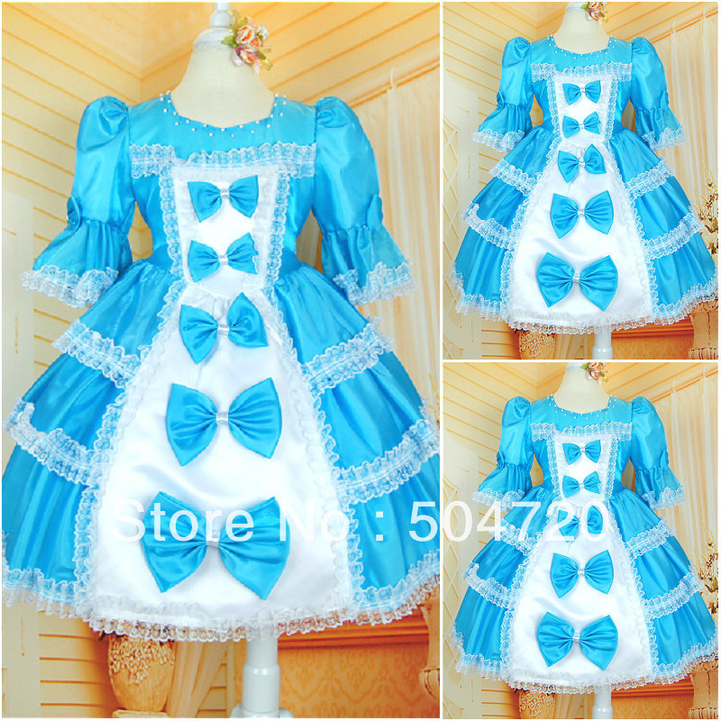 custom-madeF-17 Blue Satin Flower girl Lolita Dress/victorian dress Floor-length dress/Scarlett costume