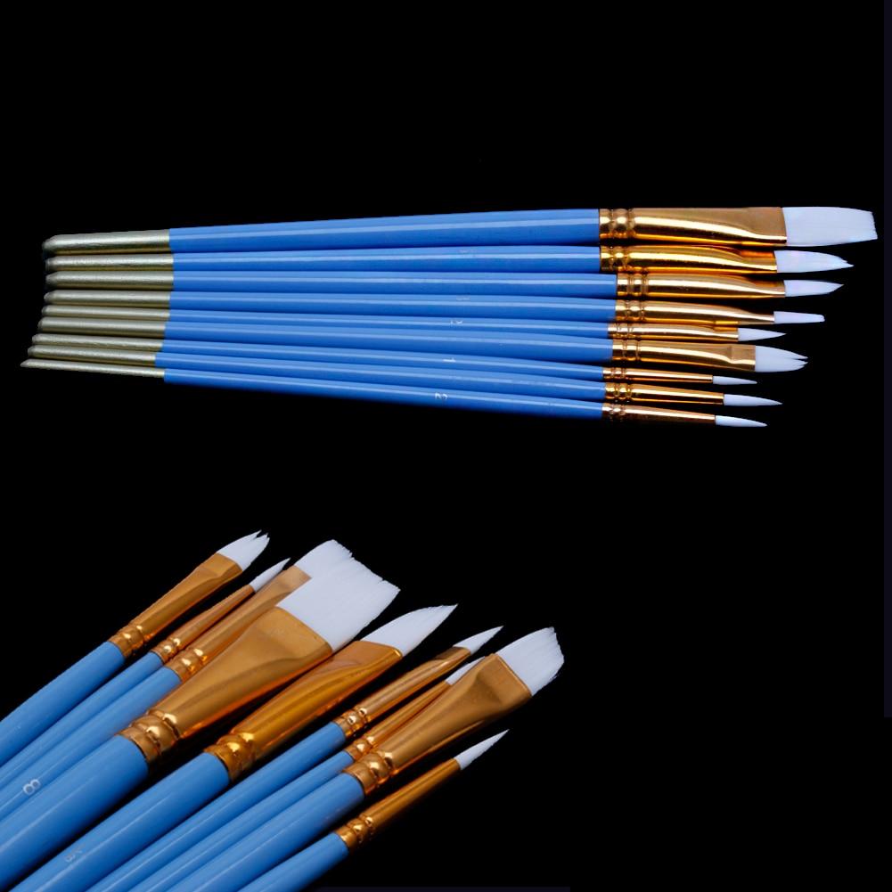 Colouring pencils for adults reviews - 10pcs Pencil Brush Set Blue Oil Gouache Watercolor Art Nail Painting Brushes White Nylon Hair