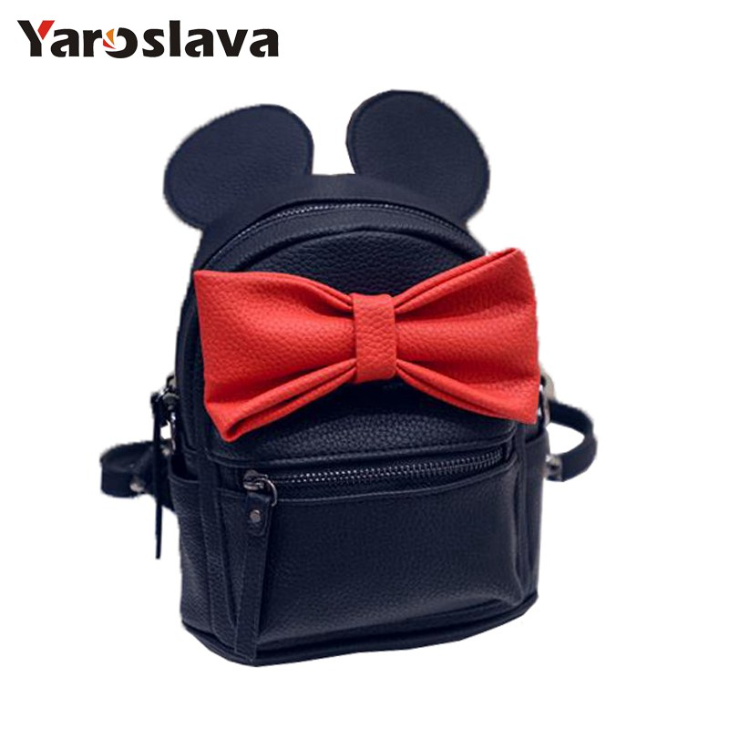 2018 New Fashion Mickey Backpack Pu Leather Female Mini Bag Women's Backpack Sweet Bow Teen Girls Backpacks School Bag  LL412