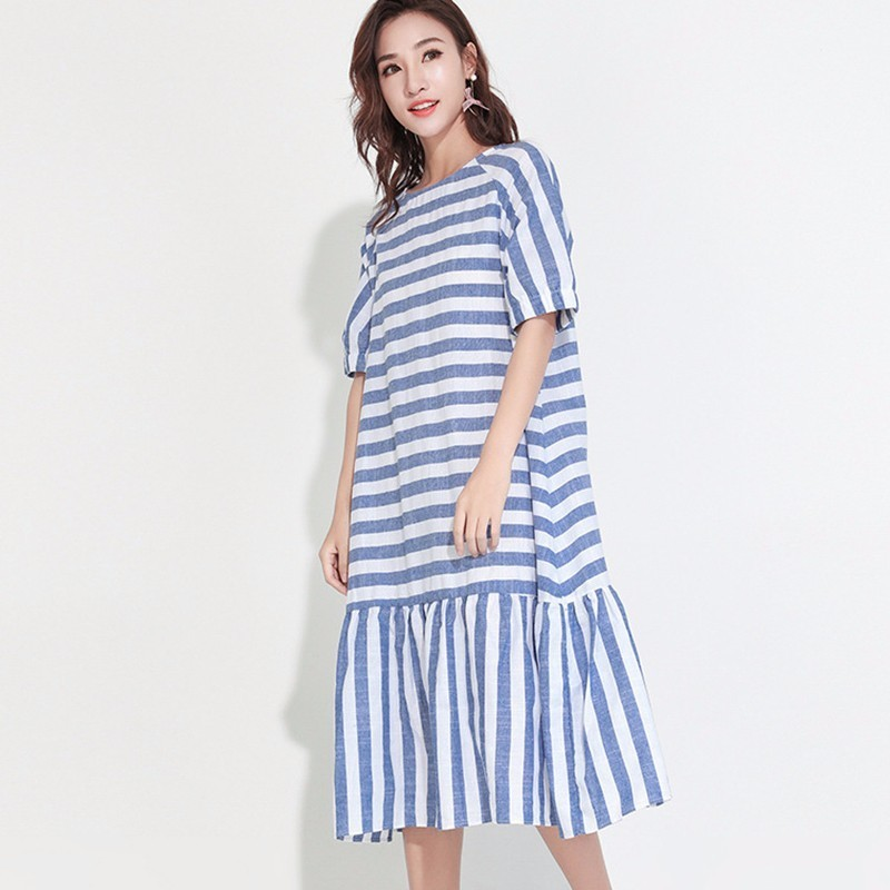 LANMREM 2018 Summer Autumn New Fashion Striped Round Collar Flare Half Sleeve Mid-calf Bow Loose Dress Woman F28801