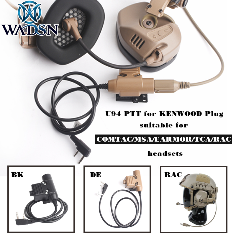 WADSN Airsoft U94 Tactical PTT For TMC-RAC Headset KENWOOD Plug RAC TMC Softair COMTAC Push-To-Talk WC001