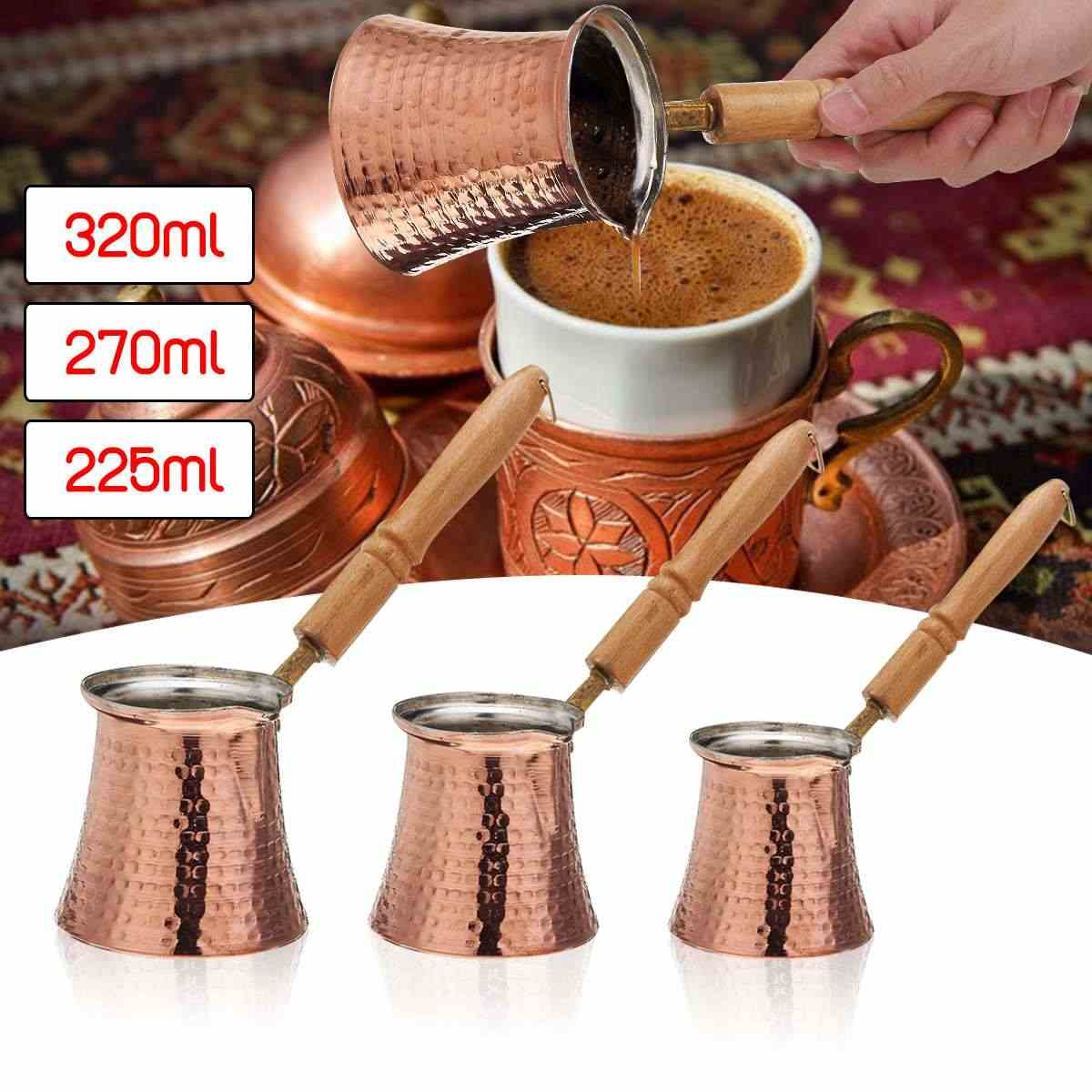 3 Size  Coffee Wooden Handle Cevze Turk Turkish Coffee Pot Coffee Turk Turkish Copper Coffee Maker for Turk Cezve Cafeteria