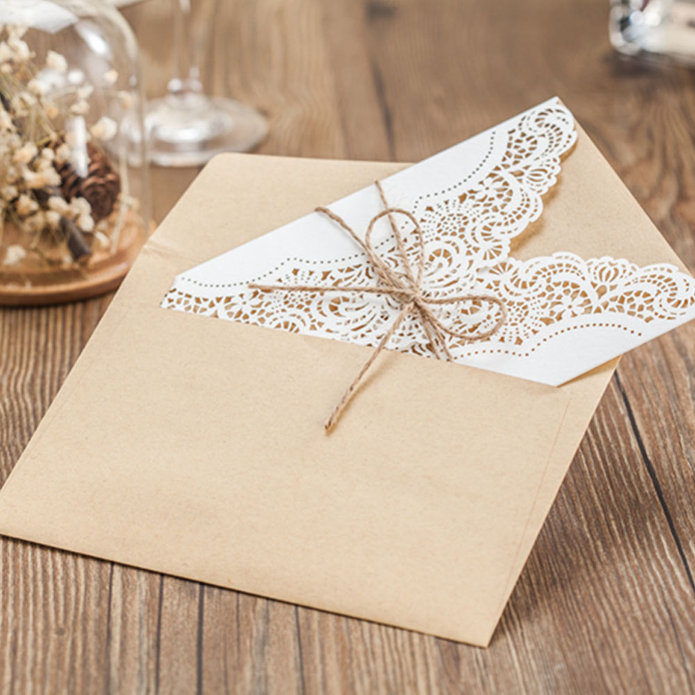 10pcs/lot white laser cut hemp rope ribbon wedding invitation cards ...