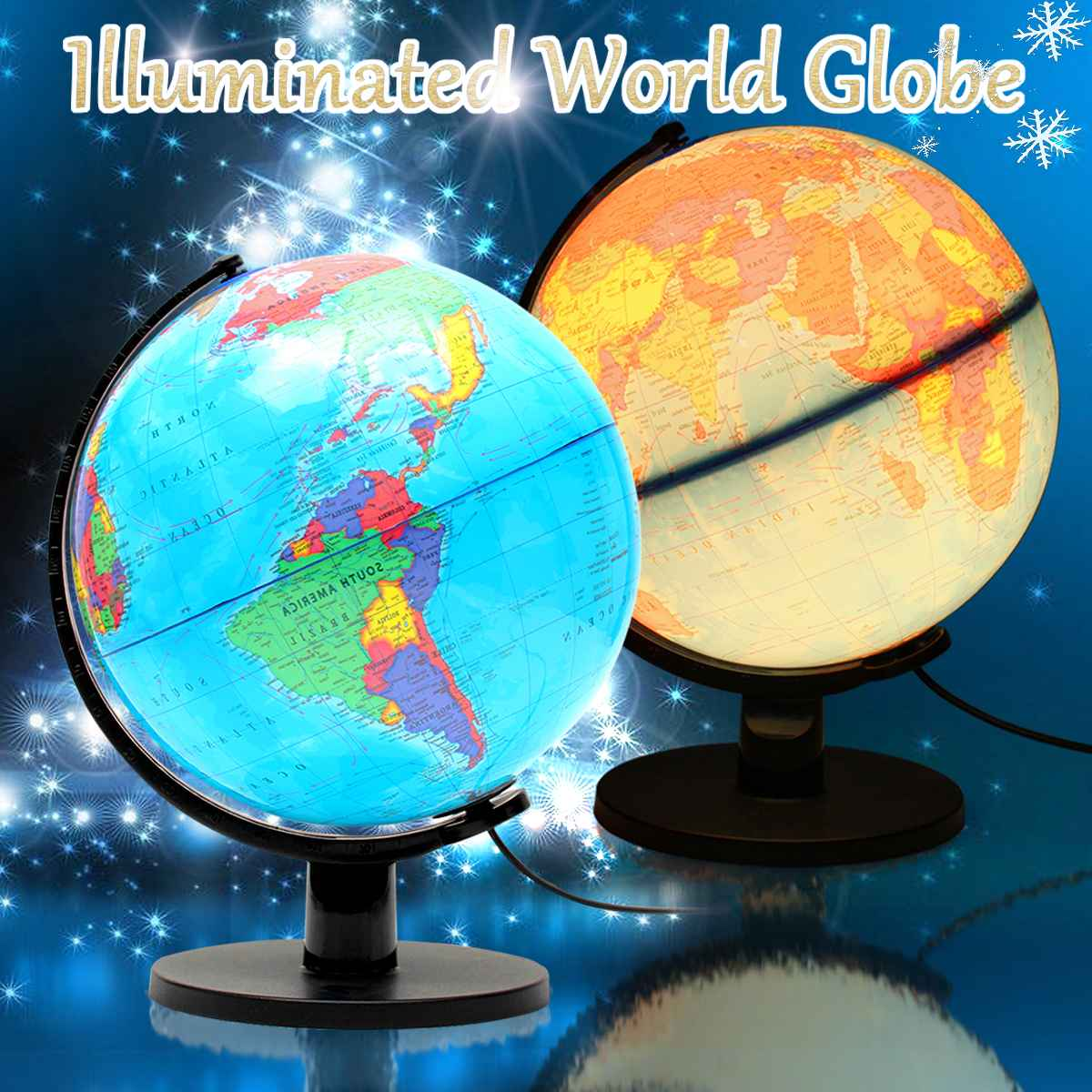 25cm 110V World Globe Night Light Geography LED Lamp Kids Bedroom Decor Gift School Supplies Educational Teaching Geography