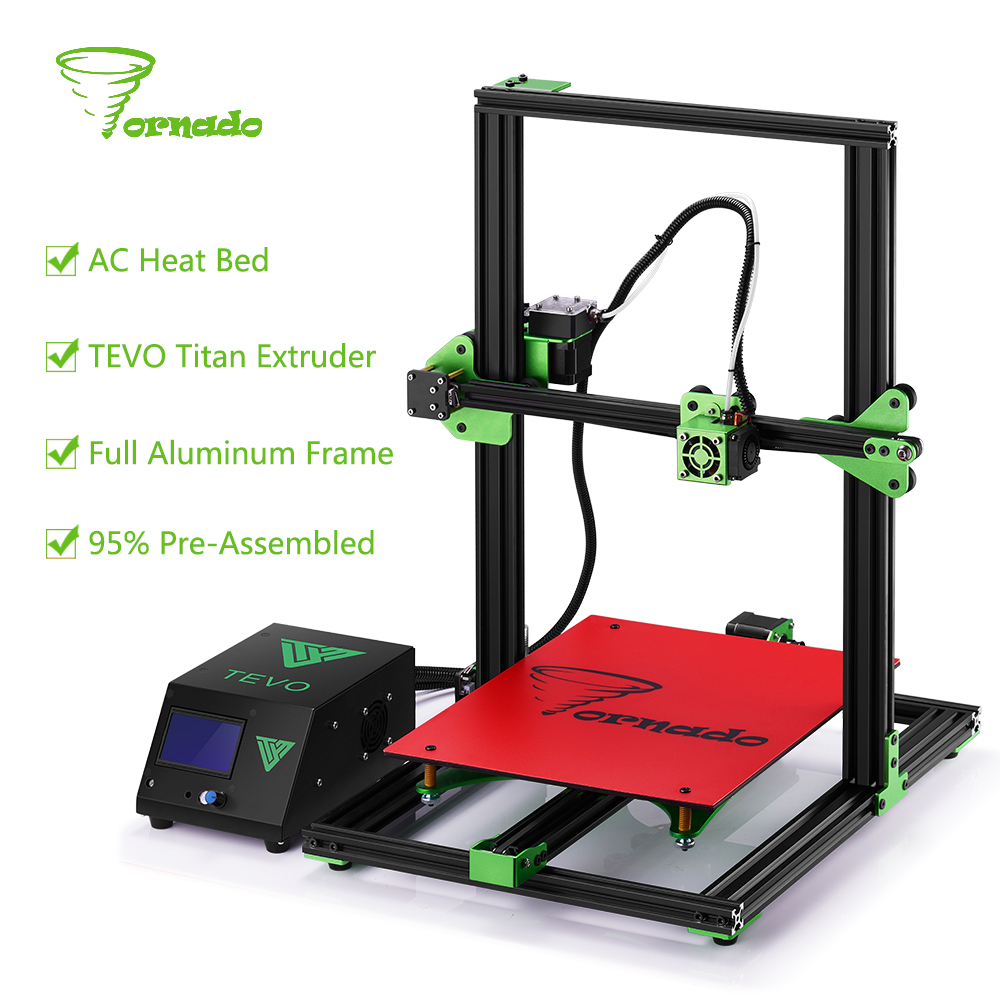 2017 TEVO Tornado 95% Assembled Aluminium Extrusion 3D Printer High Quality impresora 3d printer With Titan Extruder Main Board double color m6 3d printer 2017 high quality dual extruder full metal printers 3d with free pla filaments 1set gift