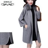 2017 Autumn Winter long Coat Women Plus size Fox fur Collar Knitted Cardigan Thick wool Sweater Female overcoat LJ265