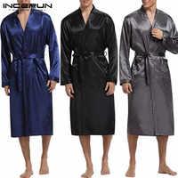 INCERUN hommes Robe en Satin de soie à manches longues automne Long peignoir léger vêtements de nuit ceinture pyjamas Robe de chambre Kimono Hombre