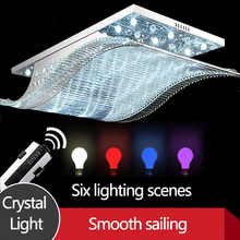 LED ceiling lamp rectangular household crystal dining room bedroom chandelier