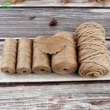 1 рулон, 50/100 м, натуральная джутовая пеньковая верёвка, украшение для дома, Ретро Стиль, DIY Ремесленная веревка, декоративная веревка, диаметр...