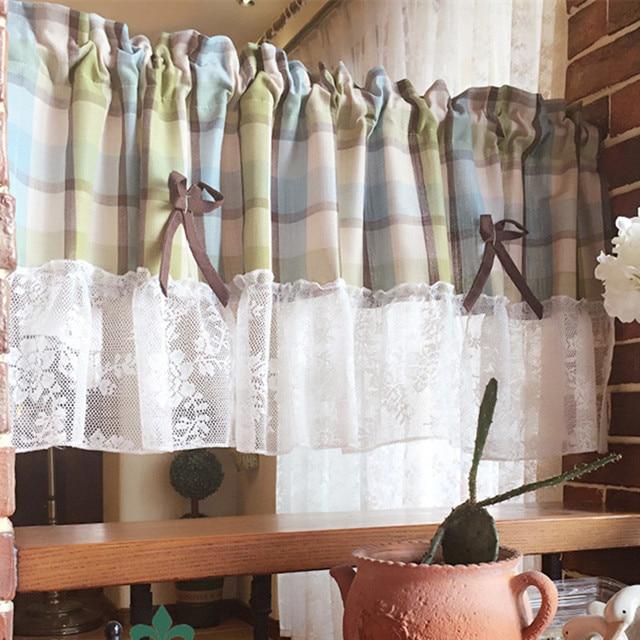 Xyzls Neue Modernes Plaid Luxus Spitze Küche Vorhänge Jalousien Cafe