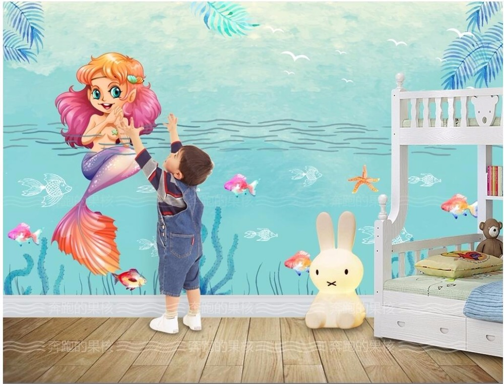 Custom mural 3d room wallpaper The sea world cute cartoon mermaid painting picture 3d wall murals wallpaper for wall 3 d shinehome sunflower bloom retro wallpaper for 3d rooms walls wallpapers for 3 d living room home wall paper murals mural roll