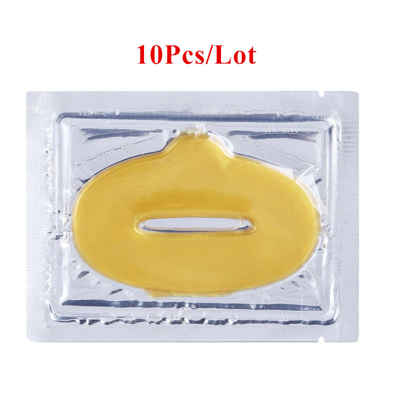 10pcs Crystal Collagen Gold Lip Mask Moisture Essence Skin Care Pads Anti Ageing Wrinkle Patch Pad Gel Lips Care