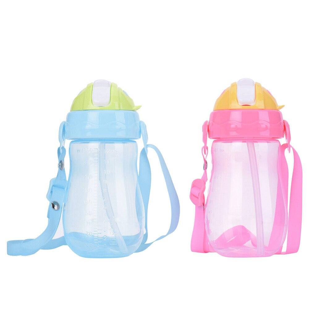 350ml Kids Drinking Cup Baby Non-toxic Bottles Child Training Drink Bottle Feeding with Adjustable Belt Portable & Anti-slip