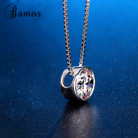 Bamos Simple & Fashion 925 Silver Filled Bridal Choker Round White AAA Zircon Pendants & Necklaces For Women Lover Gifts HP045 Multan