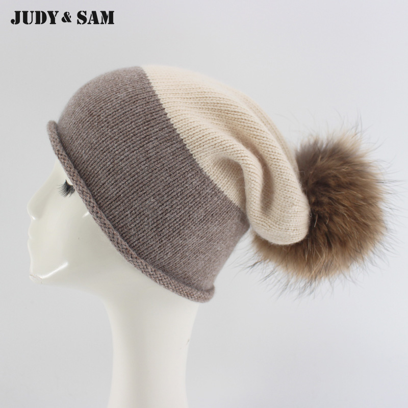 c871264d942 Detail Feedback Questions about Soft Cashmere Winter Slouchy Hats for Men  with Real Fur Pompom Beanie Caps for Women on Aliexpress.com