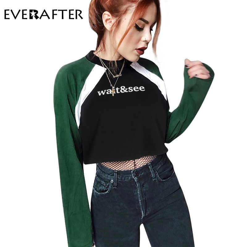1d72a54f47928a EVERAFTER 2018 New Fashion Autumn Womens Hoodies Letter Print Patchwork O  Neck Long Sleeve Sweatshirt Loose