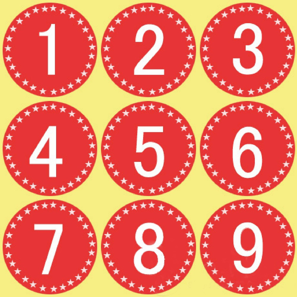 Number 1 to 100 adhesive sticker 1cm round red personalized stickers labels