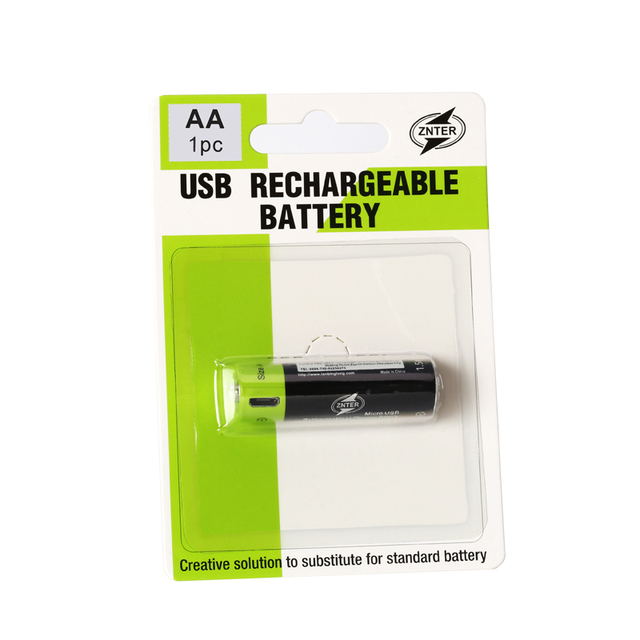 ZNTER 1PC 1.5V AA Rechargeable Battery 1250mAh USB Rechargeable Lithium Polymer Battery Quick Charging by Micro USB Cable