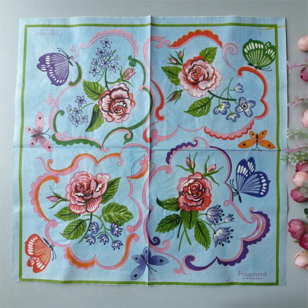 2 x découpage papier napkins 33x33cm 3 ply serviettes en papier bleu