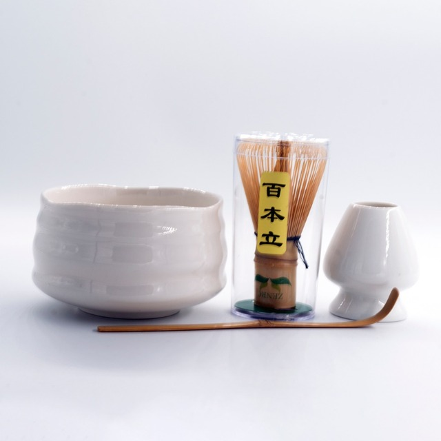Super 4in1 White Giftset of Matcha Green Tea Tools Porcelain Matcha Bowl Handmade Japanese Bamboo Chasen Whisk Holder and Scoop