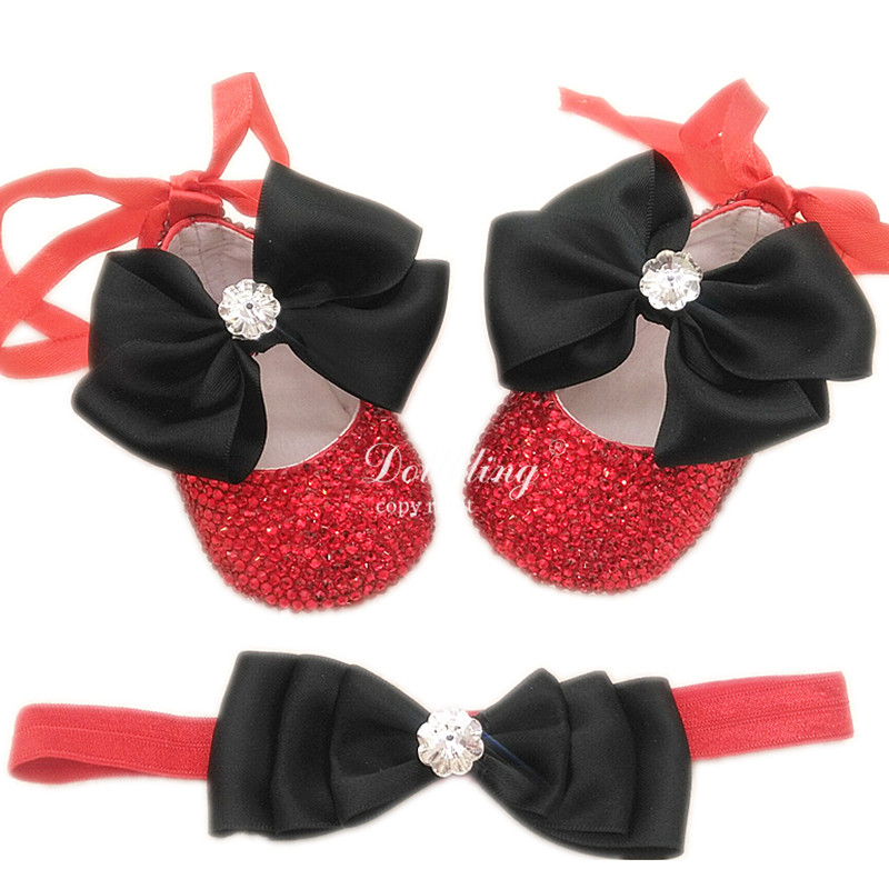 Red and black soft sole 100 days birthday gift flower baby girl crib shoes bling custom handmade first walkers fashion babyshoes