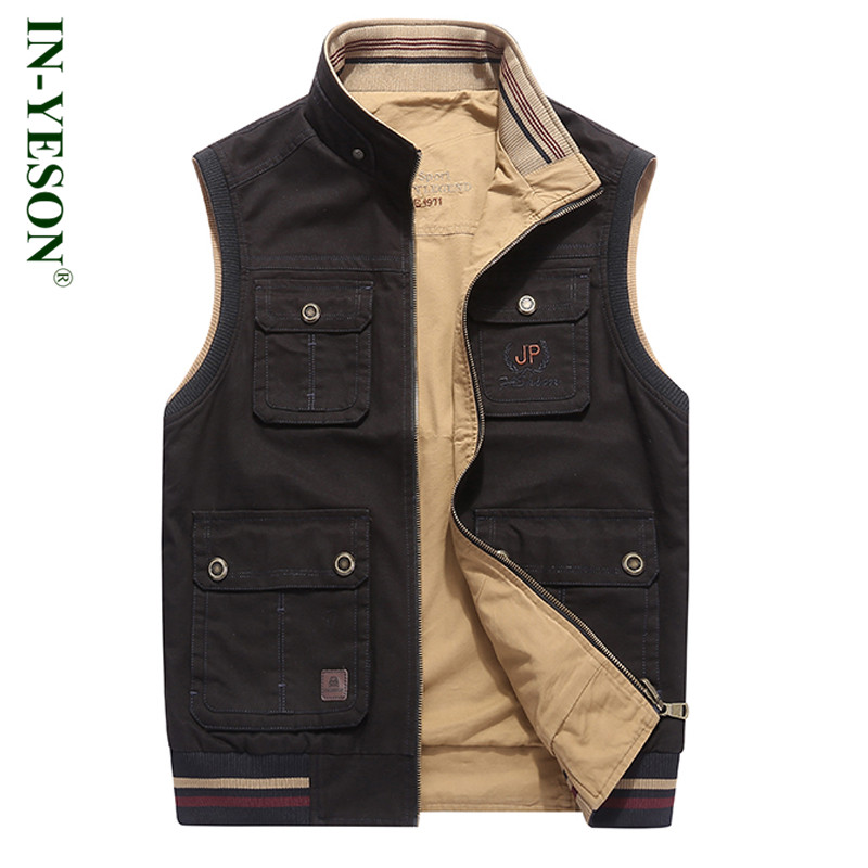 Outdoor Vest Men Stand Collar Multi Pockets Reversible Vest Hiking Camping Hunting Vest Waistcaoat Plus Size 8XL цены