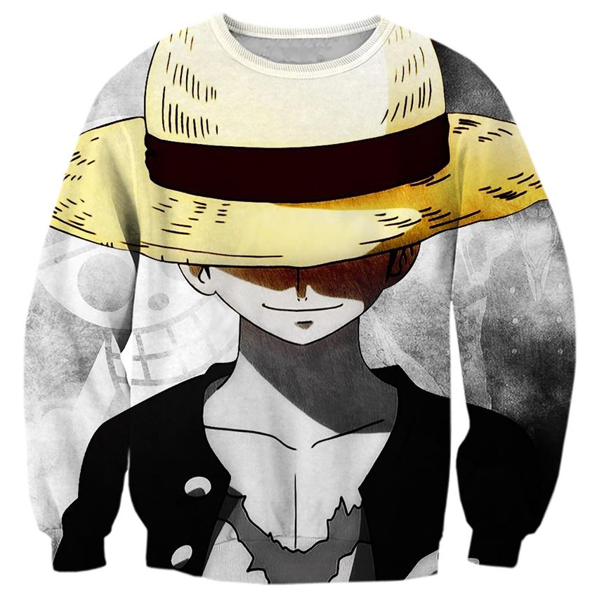 2018 NEW FASHION men women tops Yellow hat Luffy One Piece  fashion 3D print Hotstyle sweatshirt enchantress pullover streetwear