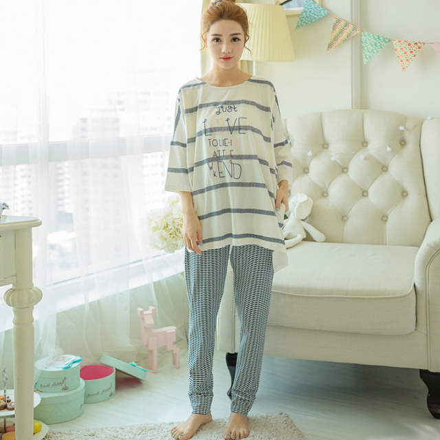 bed4fca67 Algodón Maternidad lactancia ropa de dormir pijamas de enfermería para las mujeres  embarazadas camiseta + Pantalones