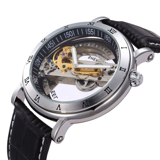 SHENHUA Transparent Skeleton Crystal Inlaid Men Automatic Mechanical Brown Leather Watch