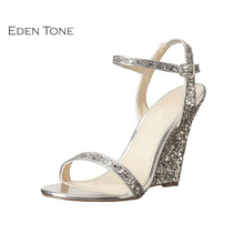 EDEN TONE Wedge Heel Sandals for Women Open-toe Ankle Strap Wedges Woman Shoes