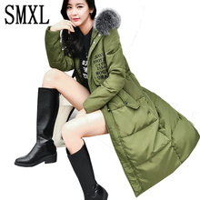 smxl X-long new ultra keep warm Wadded Jackets Parkas white Down Jacket Fashion Loose Autumn Winter Women Hooded Coats Luxury