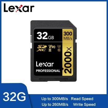 Original Lexar 2000X tarjeta SD 128G 64 GB UHS-II 300 MB/S tarjeta de memoria de alta velocidad con lector de tarjetas de 32 GB SLR