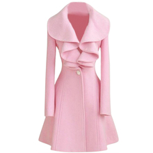 Fashion Womens Slim WOOL Warm Long Coat Jacket Trench Windbreaker Parka Outwear Pink Size L