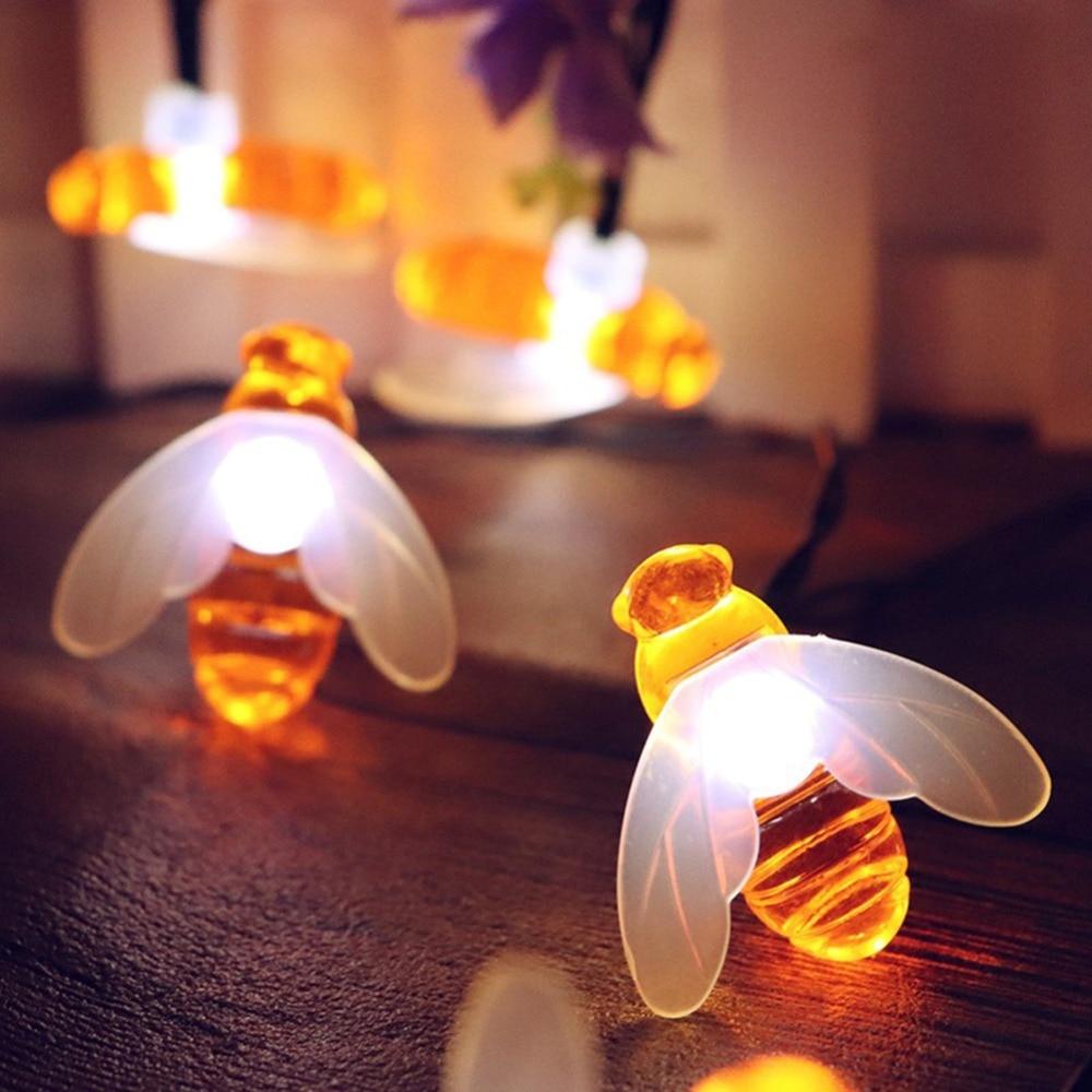 30 LEDs Honey Bee Shape Solar Led String Fairy Lights Outdoor Garden Fence Decor Summer Patio Christmas Garland Night Light