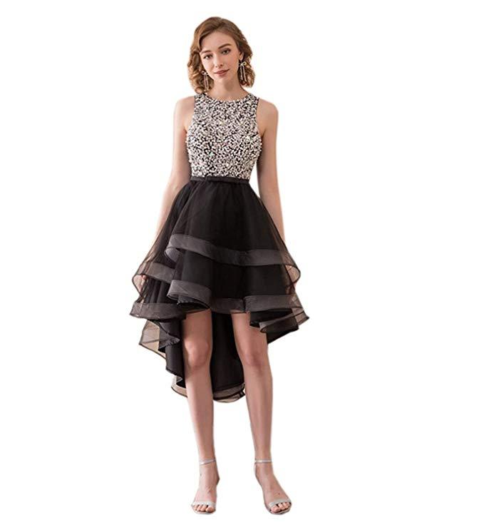 2019 Rhinestones Scoop Neck Sleeveless Open Back Tulle Hi-Lo Layer Tulle Short Prom Gown Vestidos De Festa