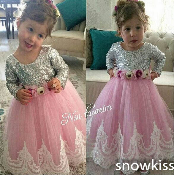 Cute New Bling Sequin Long Sleeves Lace flower girl dresses with Bow baby Birthday Party Dress wedding occasion ball gowns