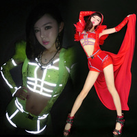 Fantasy Luminous Queen Fluorescent Colors Sexy Hollow Feather Shoulder Jumpsuits Party Girl Dancer DS Nightclub Costumes Stage