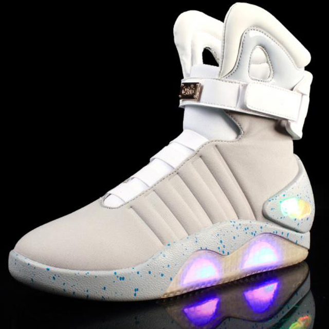 1cc830236619 Back Future Shoes cosplay Marty McFly Sneakers Shoes LED light glow cosplay  shoes rechargeable