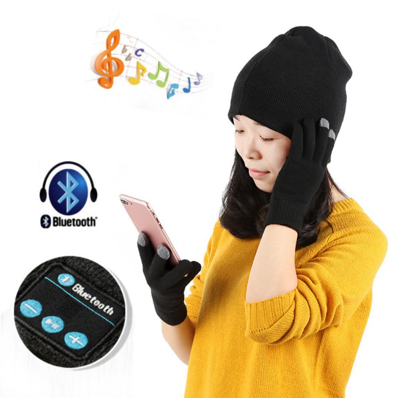 d46beffd16c5b9 Warm Bluetooth Hat Cap Gloves Set Mini Wireless Speaker Bluetooth Receiver  Audio Music Bluetooth Headset Headphone-in Skullies & Beanies from Men's  Clothing ...