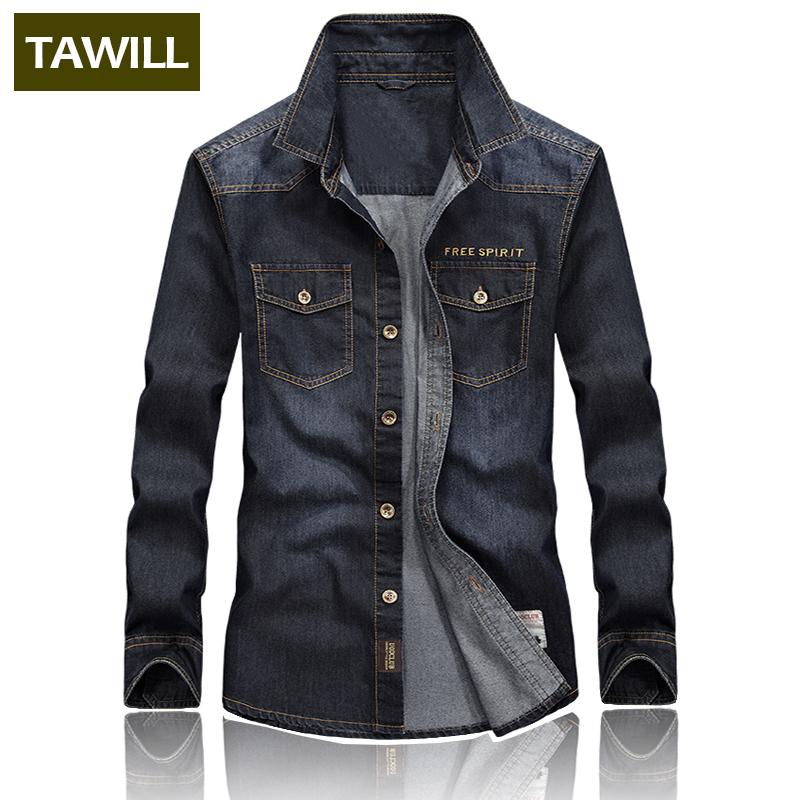 TAWILL Denim Shirts Men Fashion Cotton Military Male Jean Shirt 2018 New Camisa Masculina Brand Clothing High Quality 67007 ...
