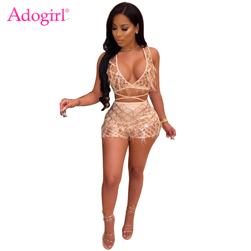 1e4ac187f257 Detail Feedback Questions about Adogirl Pearls Feather Plaid Sequins Sexy  Two Piece Set Women Night Club Costume Deep V Neck Sleeveless Crop Top +  Shorts ...