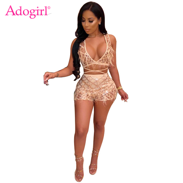 Adogirl Pearls Feather Plaid Sequins Sexy Two Piece Set Women Night Club  Costume Deep V Neck Sleeveless Crop Top + Shorts Outfit 9f7697c92ed8