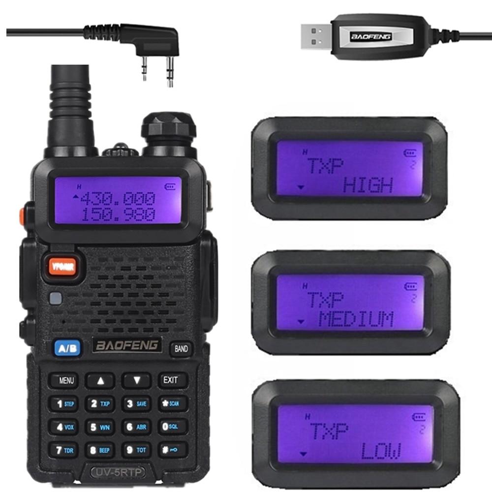 Baofeng UV-5RTP VHF / UHF 136-174 / 400-520MHz Dual-Band FM High Power 1/4 / 8W Twee richtingen Ham Radio Transceiver + programmeerkabel